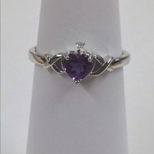Jewelry - Sterling Silver Genuine Amethyst Heart Ring
